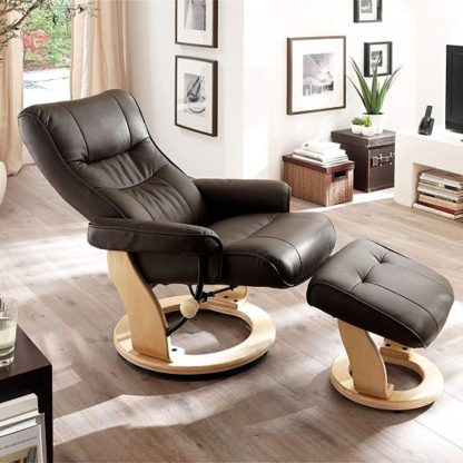 An Image of Gumala Recliner Leather Armchair In Brown With Footstool