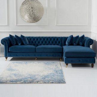 An Image of Nesta Chesterfield Right Corner Sofa In Blue Velvet