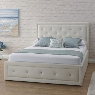 An Image of Hollywood Faux Leather Double Bed In White
