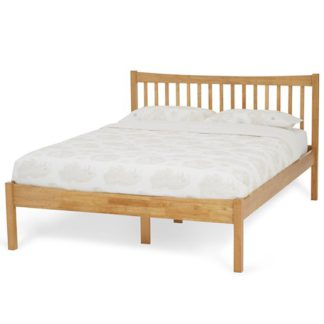 An Image of Alice Hevea Wooden Small Double Bed In Honey Oak