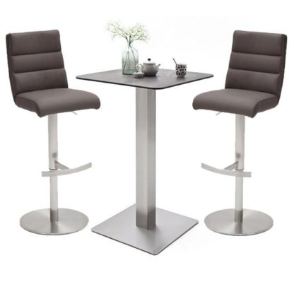 An Image of Soho Glass Bar Table With 2 Hiulia Brown Leather Stools