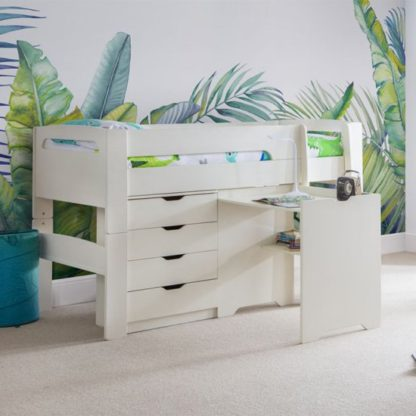 An Image of Pluto Stone White Bunk Bed With Chest Of Drawers And Study Desk