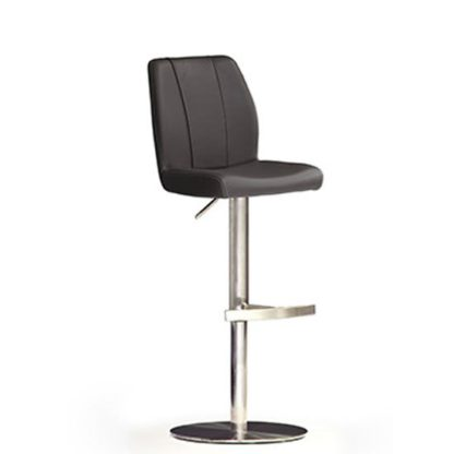 An Image of Naomi Black Bar Stool In Faux Leather With Stainless Steel Base