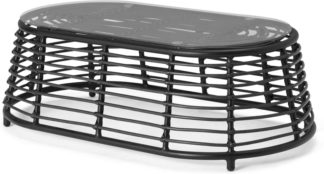 An Image of Swara Garden Coffee Table, Black Polyrattan and Glass