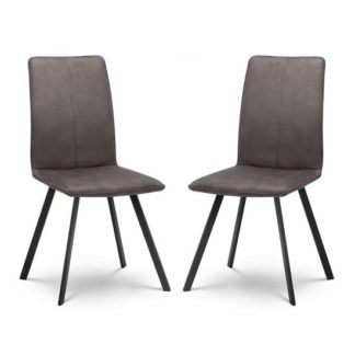 An Image of Anya Fabric Dining Chairs In Charcoal Grey Suede In A Pair