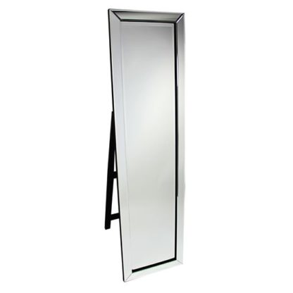 An Image of Bevelled Clear Corner Cut Frame Freestanding Mirror