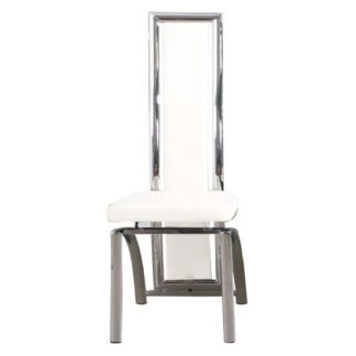 An Image of Chicago Faux Leather Dining Chair In White With Chrome Frame