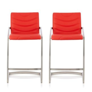 An Image of Darren Bar Stool In Red Faux Leather In A Pair