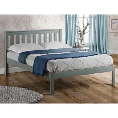 An Image of Denver Wooden Low End King Size Bed In Grey