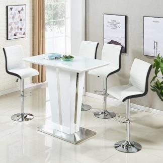 An Image of Memphis Glass Bar Table In High Gloss White And 4 Ritz Stools