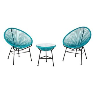 An Image of Alongan Rattan Effect Bistro Table And Chairs Set In Cyan Finish