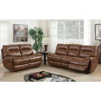 An Image of Orionis Recliner 2 Seater And 3 Seater Sofa Suite In Brown