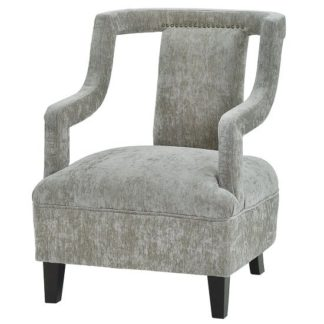 An Image of Blanka Fabric Arm Chair In Grey With Dark Legs