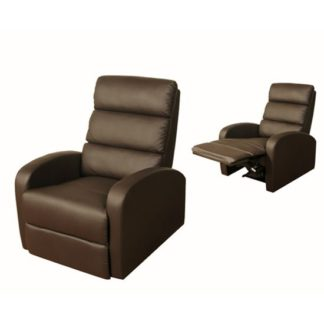 An Image of Livonia Reclining Chair in Brown Faux Leather