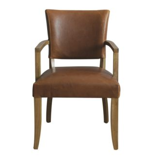 An Image of Epping PU Leather Arm Chair In Tan Brown With Wooden Frame