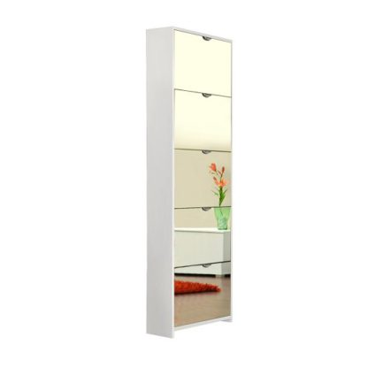 An Image of Boddem Mirrored Shoe Cabinet In White With 5 Flap Doors