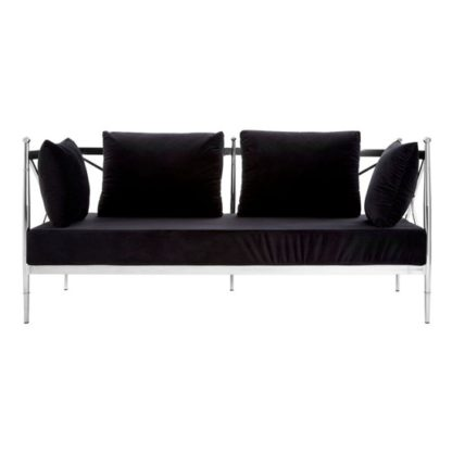 An Image of Kurhah 2 Seater Sofa In Black With Silver Lattice Arms