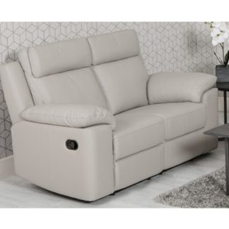 An Image of Enzo Faux Leather 2 Seater Recliner Sofa In Putty