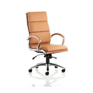 An Image of Olney Bonded Leather Office Chair In Tan With Arms High Back