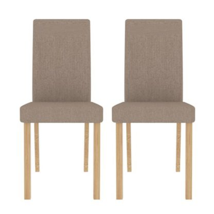 An Image of Anna Beige Finish Dining Chair In Pair