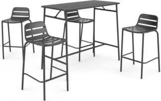 An Image of MADE Essentials Tice Garden Bar Set and 4 Stools, Grey