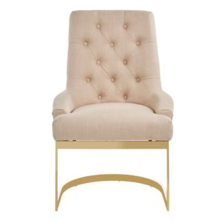An Image of Azaltro Linen Fabric Dining Chair In Natural