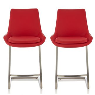 An Image of Rasmus Bar Stool In Red Faux Leather In A Pair