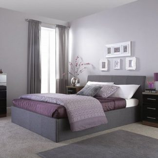 An Image of Keanu Fabric Ottoman Storage King Size Bed In Grey
