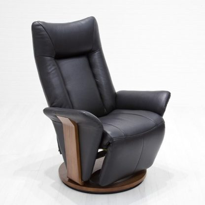 An Image of Amalia Relaxing Chair In Black Leather And Walnut Base