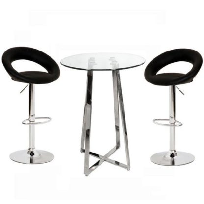An Image of Poseur Glass Top Bar Table with 2 Leoni Black Bar Stools