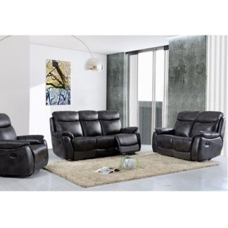 An Image of Canton Recliner Sofa Suite In Grey Faux Leather