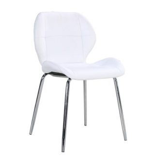 An Image of Darcy Dining Chair In White Faux Leather With Chrome Leg