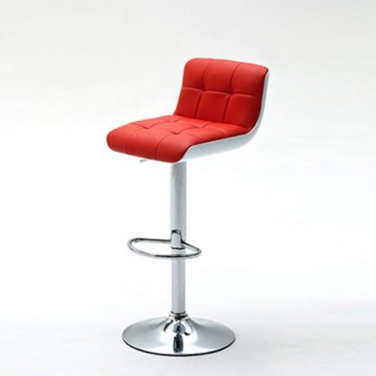 An Image of Bob Red Bar Stool In Faux Leather With Chrome Base