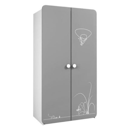 An Image of Kelby Wooden Wardrobe In Pearl White And Grey With 2 Doors