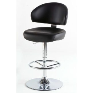 An Image of Bingo Black Bar Stool In Faux Leather With Chrome Base