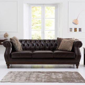 An Image of Ruskin 3 Seater Sofa In Brown Leather With Dark Ash Legs