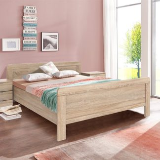 An Image of Newport Wooden Double Bed In Oak