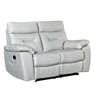 An Image of Tiana Contemporary Recliner 2 Seater Sofa In Putty Faux Leather