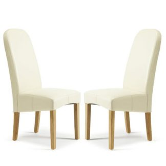 An Image of Jennifer Dining Chair In Cream Faux Leather in A Pair