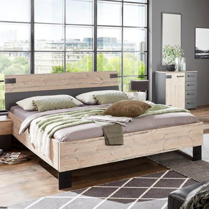 An Image of Malmo Wooden Small Double Bed In Silver Fir And Graphite