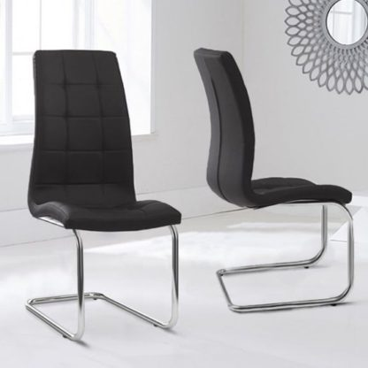 An Image of Liesma PP Black Dining Chairs In Pair With Hoop Leg