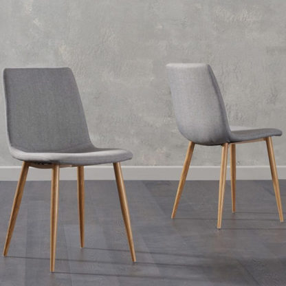 An Image of Inquill Grey Fabric Wooden Leg Dining Chairs In Pair