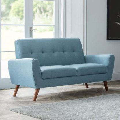 An Image of Monza Linen Compact Retro 2 Seater Sofa In Blue
