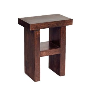 An Image of Henzler Wooden H Shape Side Table In Dark With Shelf