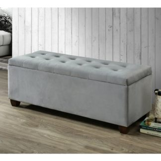 An Image of Lily Velvet Upholstered Storage Ottoman In Grey