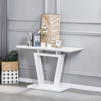 An Image of Nicolo Rectangular Console Table In White High Gloss