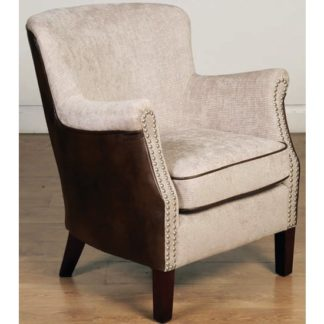 An Image of Aquarii Chenille Leather Fabric Lounge Armchair In Tan Fusion