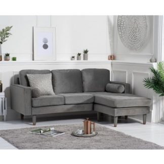 An Image of Garren Reversible Three Seater Chaise Sofa In Grey Velvet