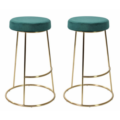 An Image of Opera Teal Finish Bar Stool In Pair