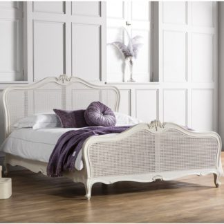 An Image of Chic Mahogany Wooden Super King Size Bed In Vanilla White